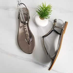 Cole Haan Effie Jewel Sandals Gunmetal Leather 11